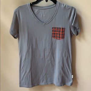 WOOLRICH tartan pocket detail v neck tee